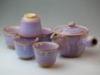 Japanese tea pot cups set Hagi ware purple asagao pottery tea strainer 420ml