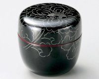 Tea Caddy Japanese Natsume Echizen Urushi lacquer Matcha container peony pattern