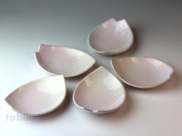 Hagi ware Japanese plates Sakura W130mm set of 5