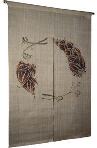Noren Mitsuru Japanese linen door curtain Kakishibu Enso bamboo shoot 88 x 150cm