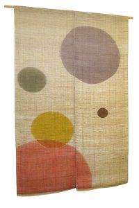 Noren Mitsuru Japanese linen door curtain kusakizome polka dot 88 x 150cm