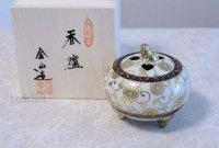 Kutani yaki ware Japanese incense burner Shirotibu kiku karakusa H 9cm