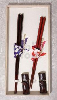 Hexagonal Conjugal Japanese lacquer chopsticks & rest Gift set