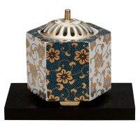 Kutani Porcelain Japanese incense burner koro nishoku karakusa H 10.5cm