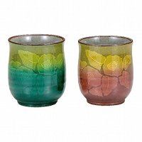 Kutani Porcelain Yunomi Ginzan Chabana flower Japanese tea cup (set of 2)