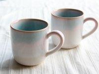 Hagi Japanese pottery mug coffee cup mint pink-light-blue gradation set of 2