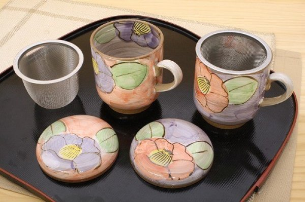 Photo3: Mino Japanese pottery mug tea coffee cup camellia with strainer and lids set of 2
