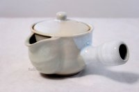 Hagi yaki ware Japanese tea pot Botan kyusu with stainless tea strainer 340ml