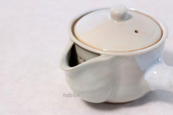 Photo4: Hagi yaki ware Japanese tea pot Botan kyusu with stainless tea strainer 340ml