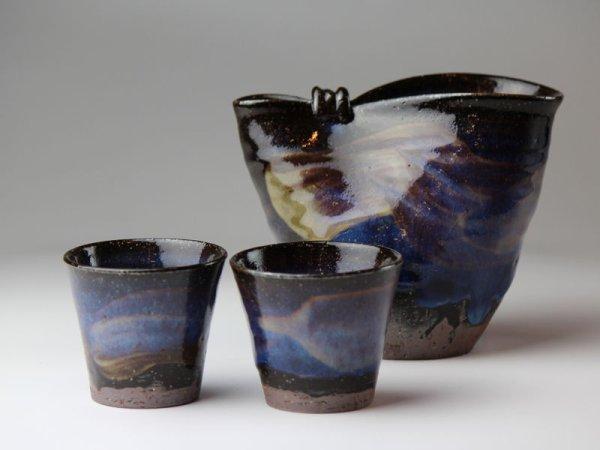 Photo2: Hagi yaki ware Japanese Sake bottle and Sake cup set blue hagi Seigan Yamane