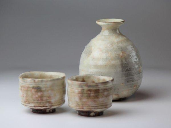 Photo2: Hagi yaki ware Japanese Sake bottle and Sake cup set Kobiki futo Keichiro