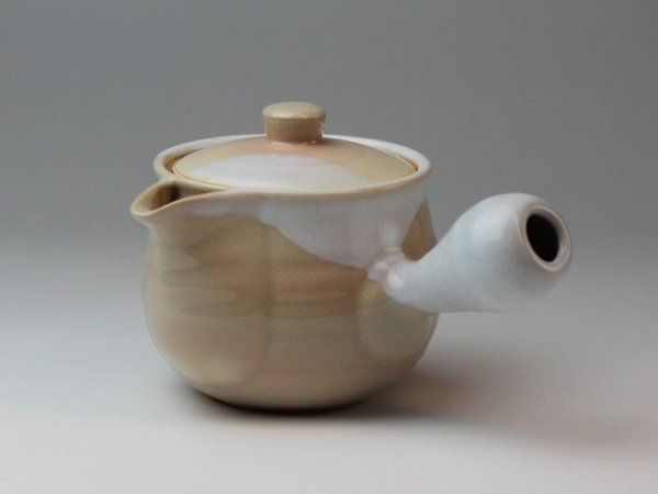 Photo5: Hagi yaki ware Japanese tea pot Hime M kyusu with stainless tea strainer 360ml