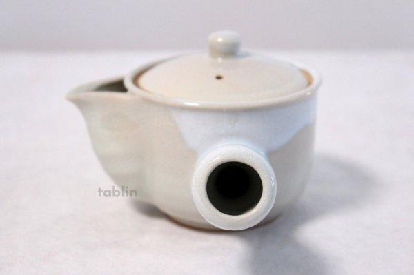 Photo2: Hagi yaki ware Japanese tea pot Botan kyusu with stainless tea strainer 340ml
