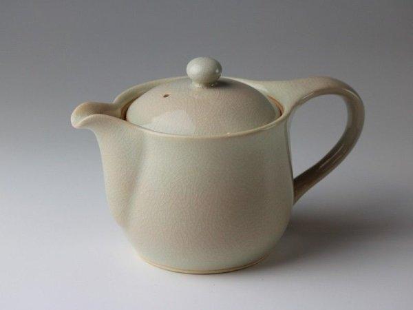 Photo1: Hagi yaki ware Japanese tea pot Tutu with stainless tea strainer 320ml
