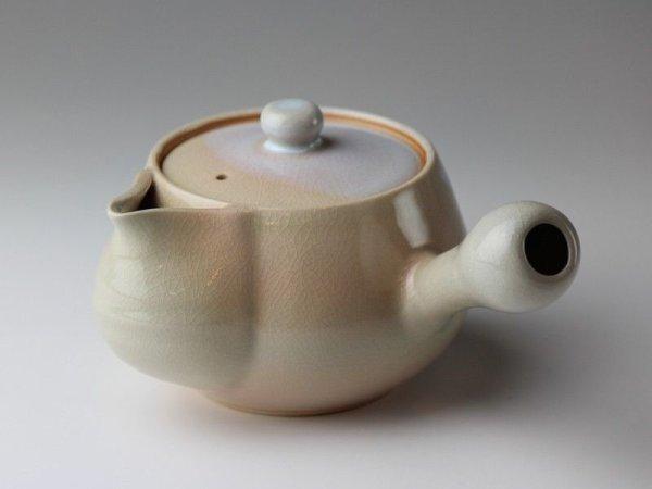 Photo1: Hagi yaki ware Japanese tea pot Hime mar kyusu with stainless tea strainer 370ml