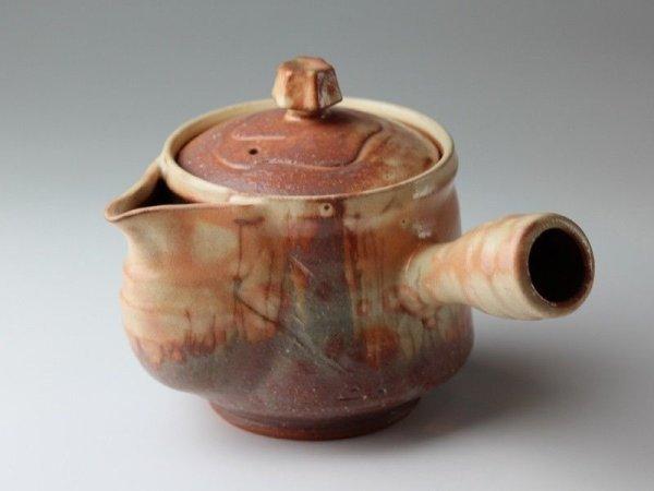 Photo1: Hagi yaki ware Japanese tea pot Koen mire kyusu pottery tea strainer 520ml