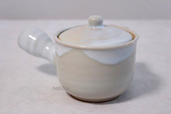 Photo3: Hagi yaki ware Japanese tea pot Botan kyusu with stainless tea strainer 340ml