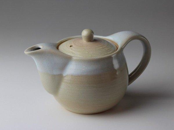 Photo2: Hagi yaki ware Japanese tea pot Hamon with stainless tea strainer 400ml