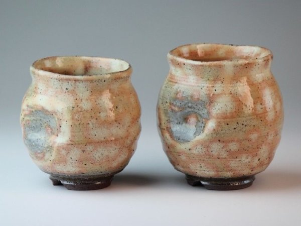 Photo2: Hagi yaki ware Japanese tea cups pottery Daruma