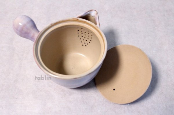 Photo4: Hagi yaki ware Japanese tea pot Hagi Purple kyusu pottery tea strainer 420ml
