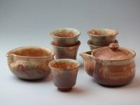 Japanese tea set pot cups yusamashi Houhin Ayado pottery tea strainer 190ml