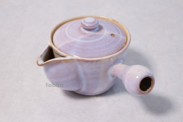 Photo1: Hagi yaki ware Japanese tea pot Hagi Purple kyusu pottery tea strainer 420ml