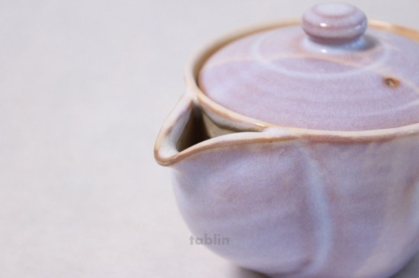 Photo3: Hagi yaki ware Japanese tea pot Hagi Purple kyusu pottery tea strainer 420ml
