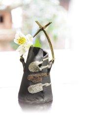 Shigaraki pottery Japanese small vase Haori nishoku kake wood handle H 16.5cm