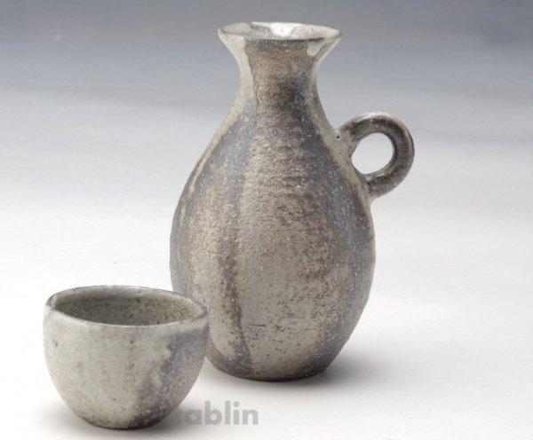 Photo1: Shigaraki pottery Japanese Sake bottle & cup set glaze kawari