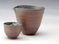 Shigaraki pottery Japanese Sake bottle & cup set Akane rei shuki