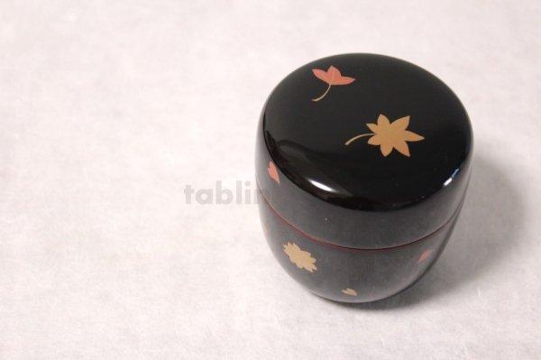 Photo1: Tea Caddy Japanese Natsume Echizen Urushi lacquer Matcha container sakura momiji