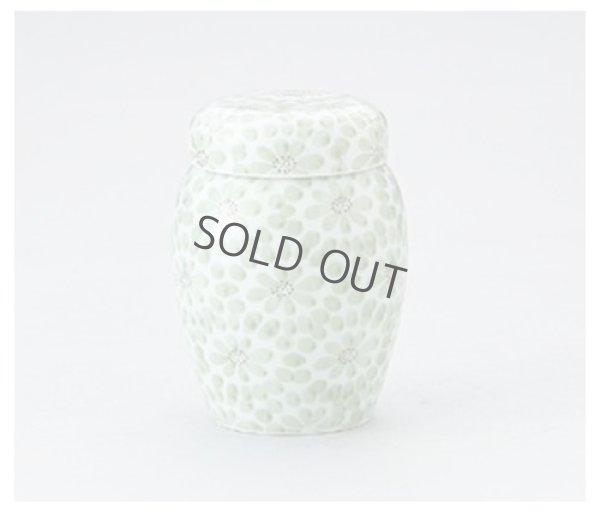 Photo1: Arita porcelain Tea Caddy Japanese tea container Kiku zume green flower H11.5cm