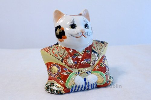 Other Images1: Japanese Lucky Cat Kutani yaki ware Porcelain Maneki Neko Fukusuke sakari