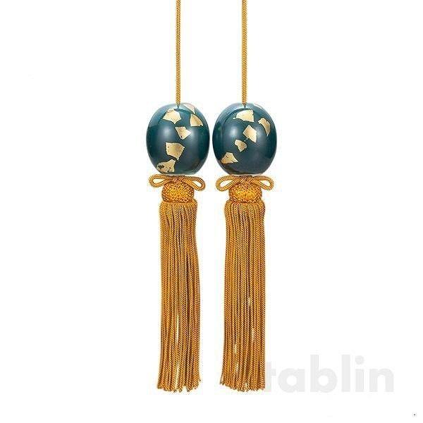 Photo2: Weight for Japanese hanging scroll FUCHIN stone Kutani porcelain green glaze