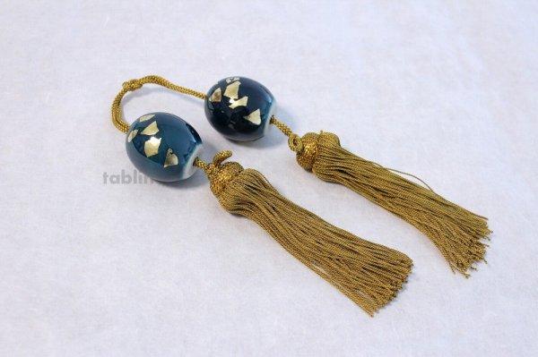Photo3: Weight for Japanese hanging scroll FUCHIN stone Kutani porcelain green glaze