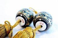 Weight for Japanese hanging scroll FUCHIN stone Kutani porcelain gold plums