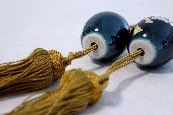 Photo5: Weight for Japanese hanging scroll FUCHIN stone Kutani porcelain green glaze