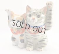 Japanese Lucky Cat Kutani yaki ware Porcelain Maneki Neko Kinsai mori5