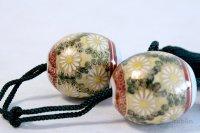 Weight for Japanese hanging scroll FUCHIN stone Kutani porcelain chrysanthemum
