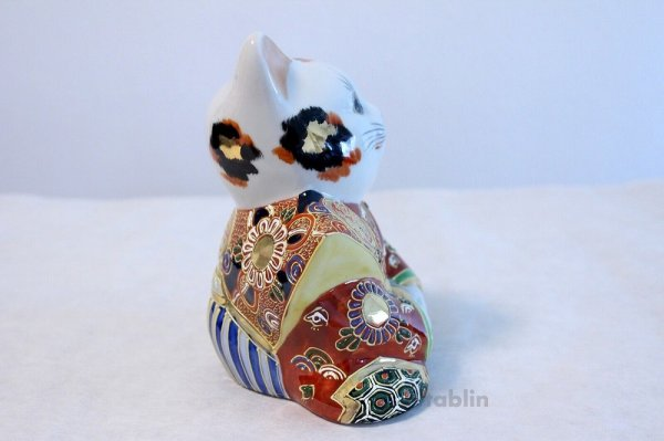 Photo4: Japanese Lucky Cat Kutani yaki ware Porcelain Maneki Neko Fukusuke sakari