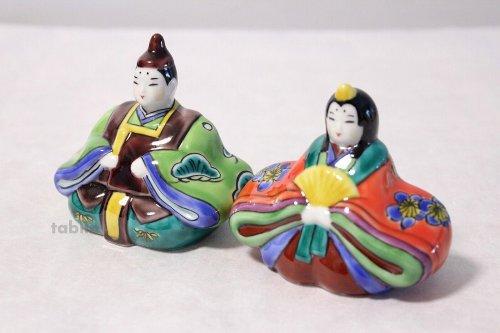 Other Images1: Japanese Kutani ware Kimono doll Hina Ningyo King & Queen Ao-kutani , H 9cm