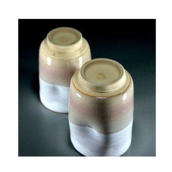 Photo3: Hagi ware Senryuzan climbing kiln Japanese tea cups hime cray dimple set of 2