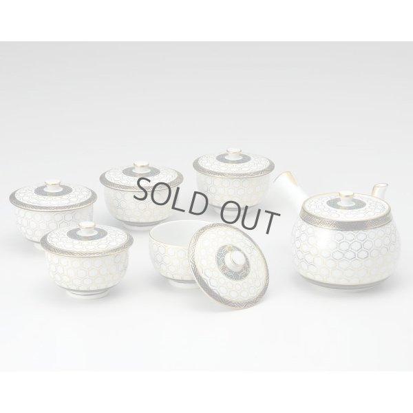 Photo5: Kutani Porcelain Futatuki Yunomi kikko haku Japanese tea cups & tea pot set