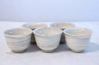 Tokoname yaki ware hainagashi Japanese tea cup (set of 5)