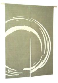Kyoto Noren SB Japanese batik door curtain Maru Round blackishgreen 85cm x 120cm