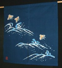 Kyoto Noren SB Japanese batik door curtain Chidori Plover blue 85cm x 90cm