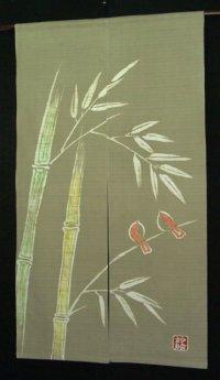 Kyoto Noren SB Japanese batik door curtain Suzume Sparrow ol.green 85cm x 150cm