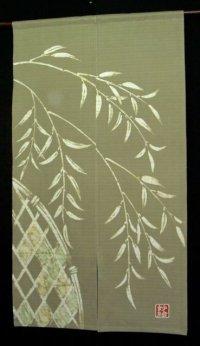 Kyoto Noren SB Japanese batik door curtain Yanagi Salix ol.green 85cm x 150cm
