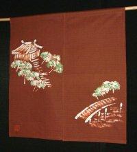 Kyoto Noren SB Japanese batik door curtain Yamadera Temple brown 85cm x 90cm