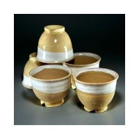 Hagi ware Senryuzan climbing kiln Japanese yunomi tea cups hai nuri set of 5